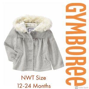 Gymboree Hoodie Jacket Girl Sparkle Faux Fur 12-24